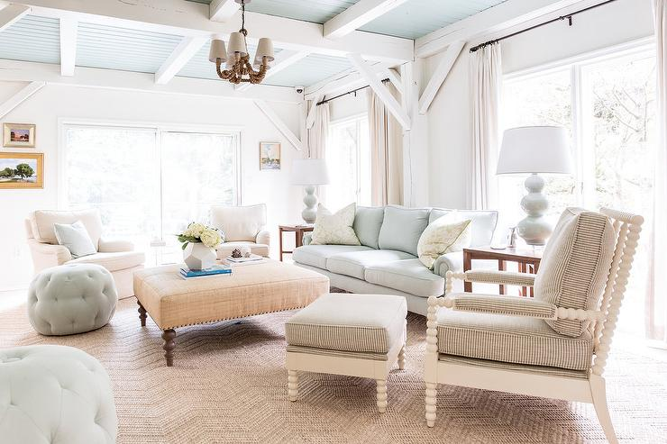 Ivory And Blue Living Room With Blue Beadboard Ceiling