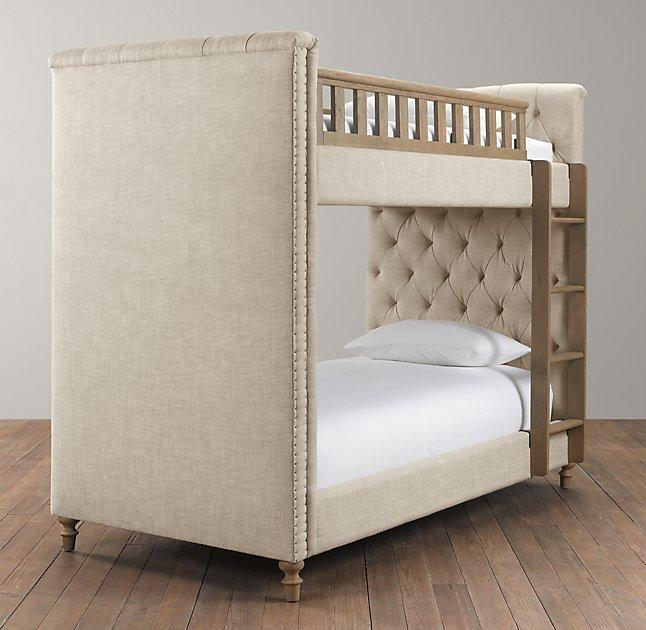 Chesterfield Upholstered Full Over Full Grey Bunk Bed