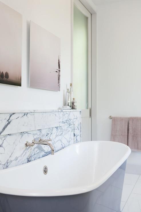 Gray Bathtub With Marble Shelf Contemporary Bathroom
