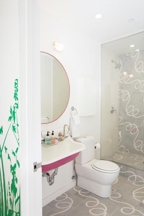 Pink kohler sink contemporary bathroom for Hot pink bathroom ideas
