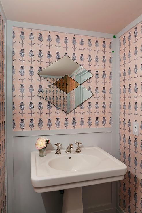 Pink and gray powder room with gray wainscoting for Pink and gray bathroom sets