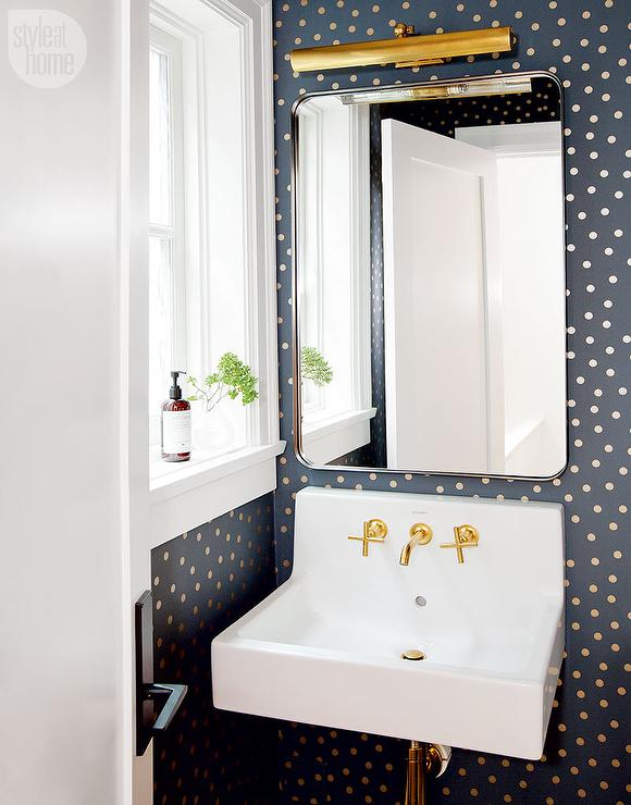 Powder Room With Black And Gold Polka Dot Wallpaper