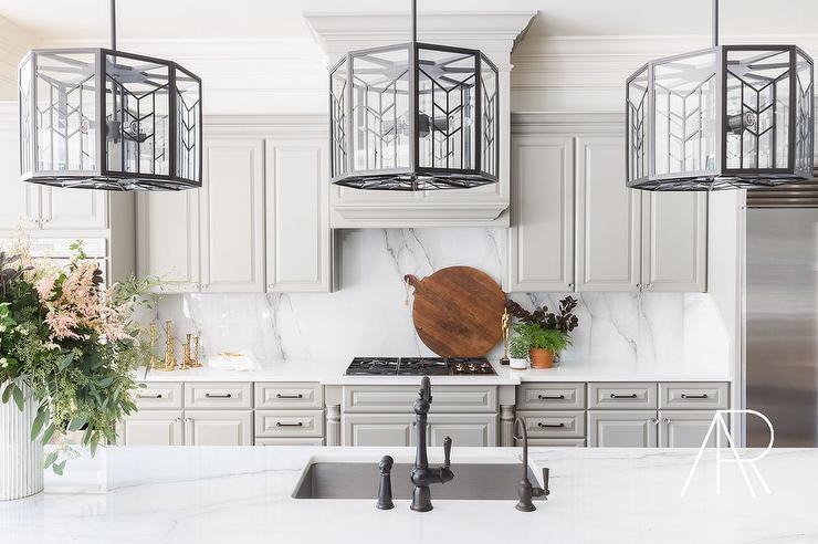 Alyssa Rosenheck White And Gray Kitchen With White Marble