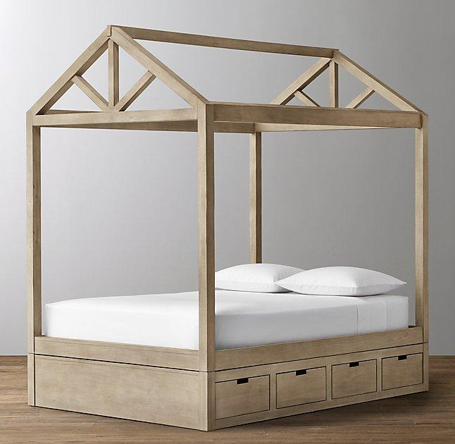Brown Framed House Storage Base Bed : canopy bed with storage - memphite.com