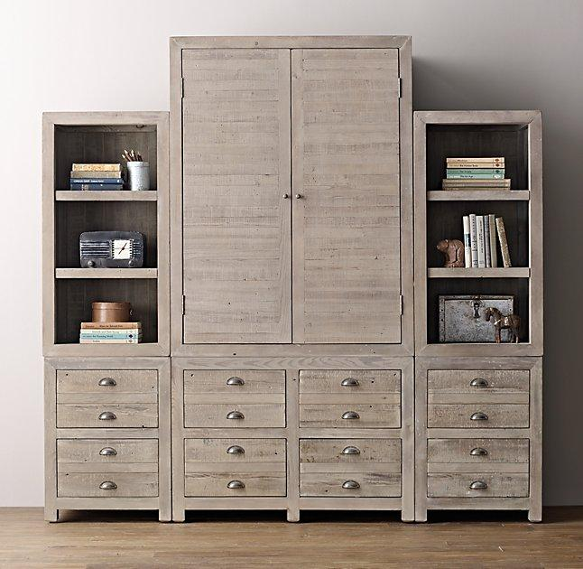 Delightful Weller Storage Aged Grey Wall Set Armoire Bookcase Tops