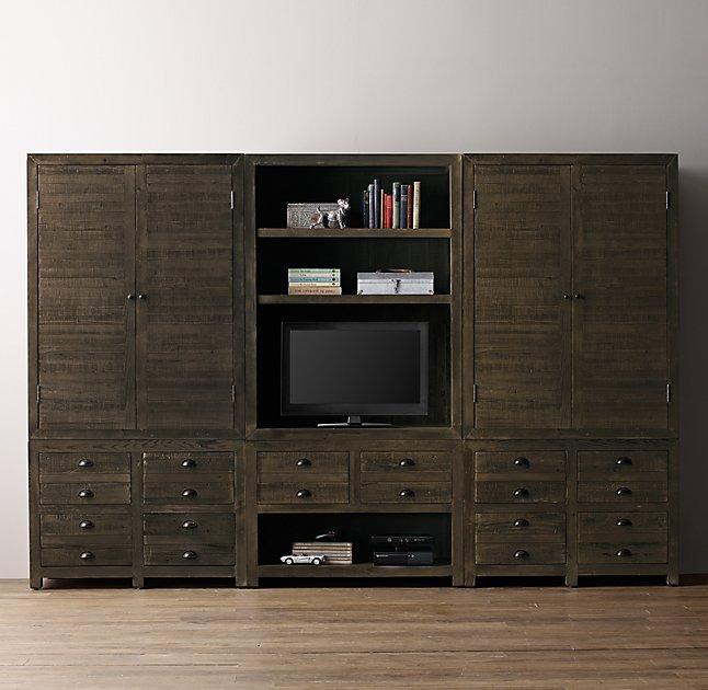 Weller Media Storage Wall Set Wide Bookcase Armoire Aged Espresso Tops