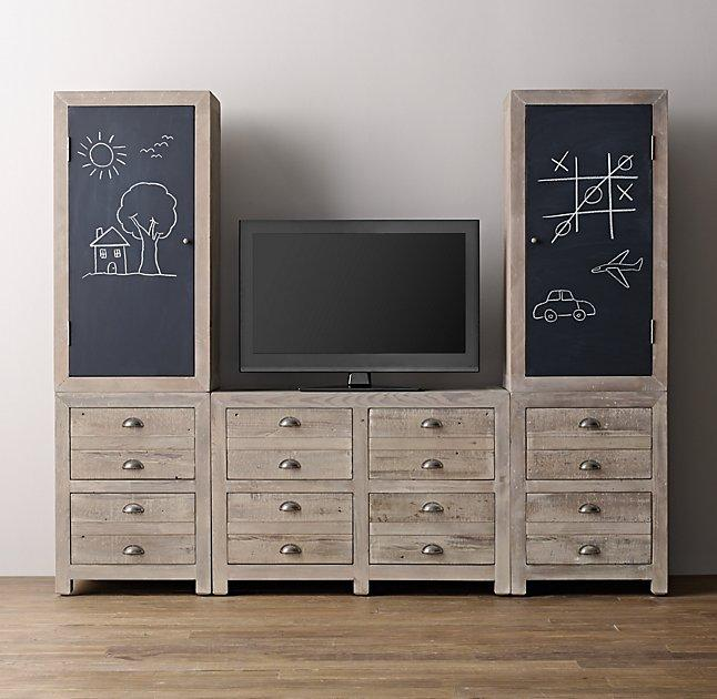 Weller Media Storage Wall Set Aged Grey Chalkboard Cabinet Tops