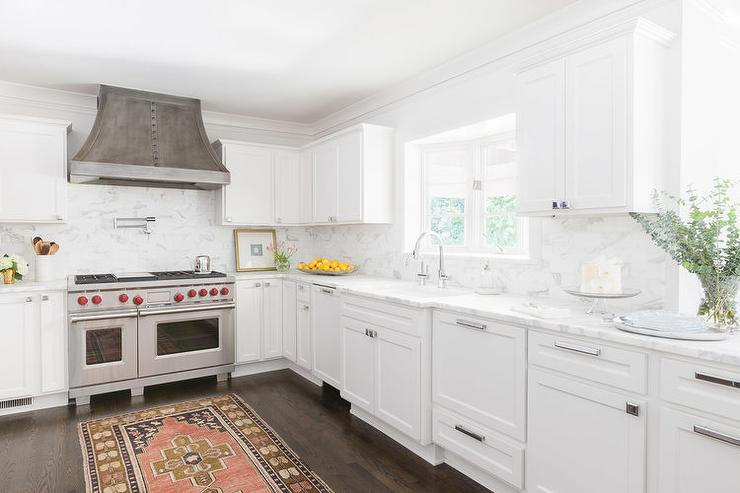 white kitchen cabinets with nickel hardware kitchen with pink kilim rug transitional kitchen 29037