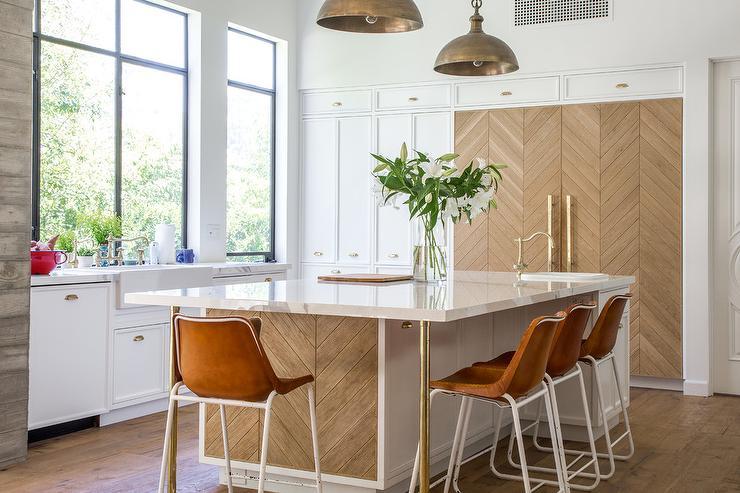 Wood Herringbone Kitchen Island With Brass Legs