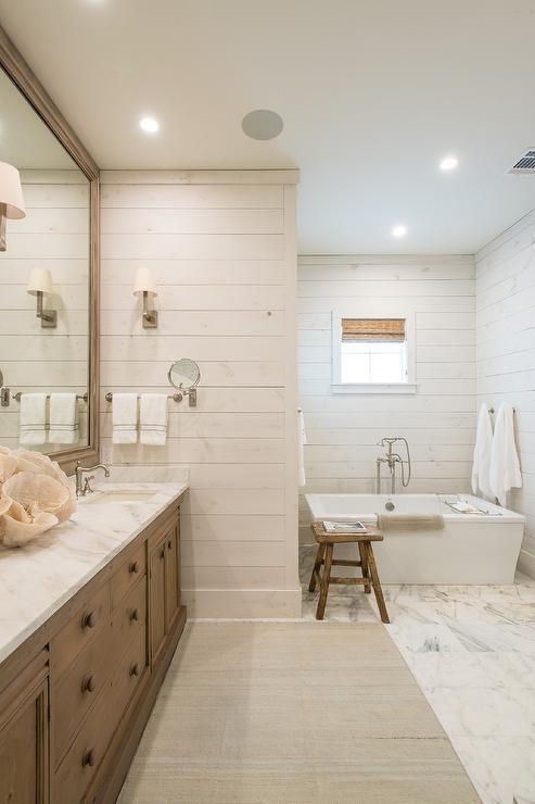 Vintage bathtub under cafe curtains transitional bathroom for White house master bathroom