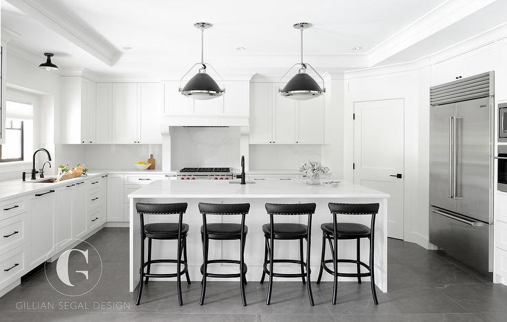 White and black kitchen with corner pantry transitional for Black industrial kitchen