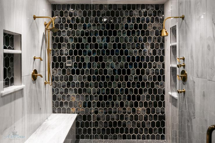 Gold And Black Beehive Shower Tiles With Brass Shower Heads