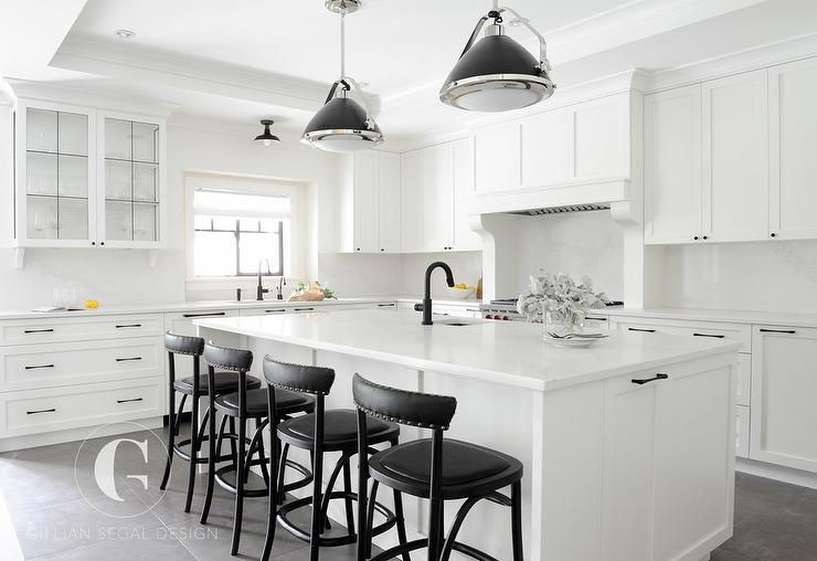 Black And White Kitchen With Tray Ceiling Transitional Kitchen