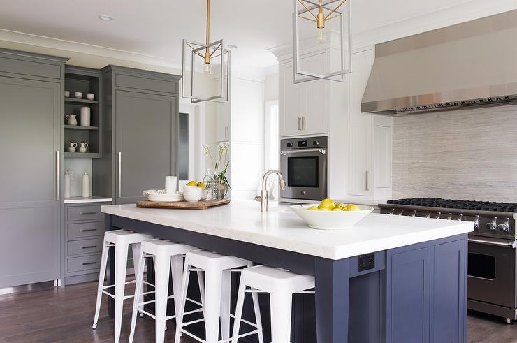 Blue Kitchen Island With White Tolix Bar Stools View Full Size