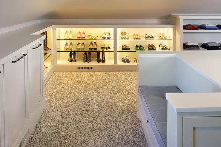 Walk In Closet with Leopard Print Carpeting & Walk In Closet with Leopard Print Carpeting - Transitional - Closet