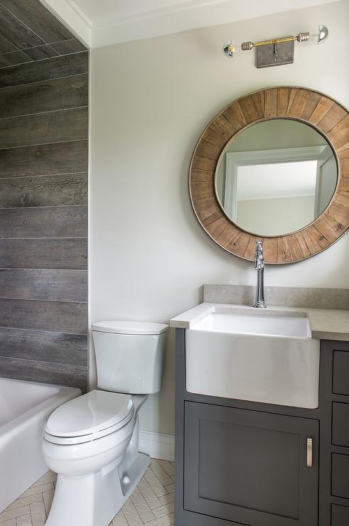 Round Salvaged Wood Mirror with Charcoal Gray Washstand - Cottage ...