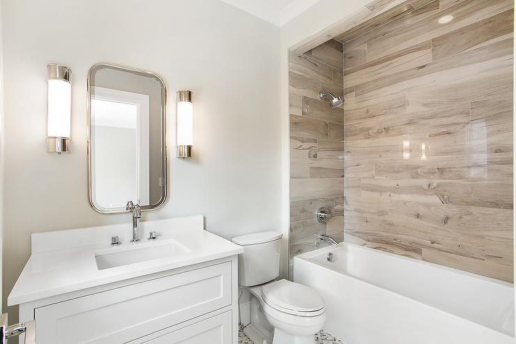 Drop In bathtub with Faux Wood Tiles Cottage Bathroom