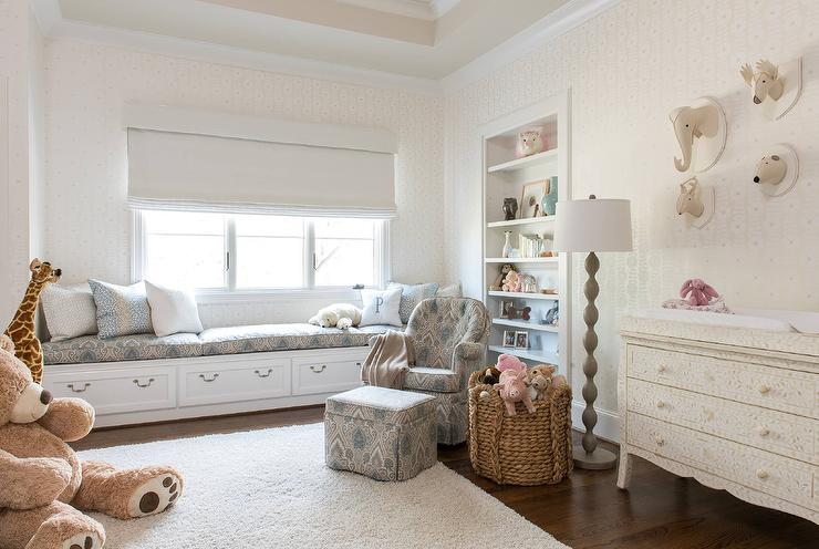 Gender Neutral Nursery with Long Window Seat