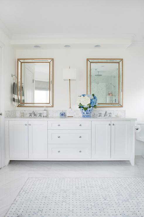 Bathroom With Restoration Hardware Venetian Beaded Mirror Transitional Ba