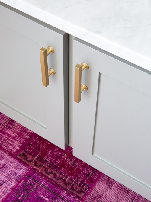 Navy bathroom vanity brass pulls design ideas for Pink grey bathroom accessories