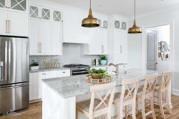 Gray Granite Kitchen Countertops With White Herringbone Tile Backsplash