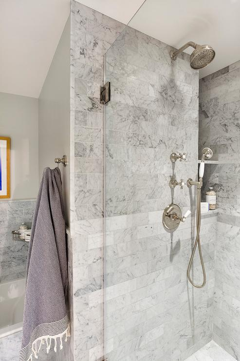 Gray Marble Shower With Marble Shelves