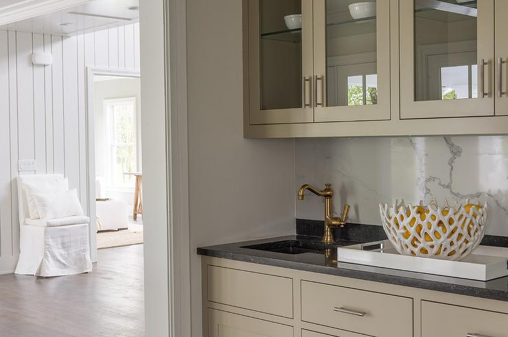 Light Taupe Butler Pantry Cabinets With Black Granite Countertops Transitional Kitchen