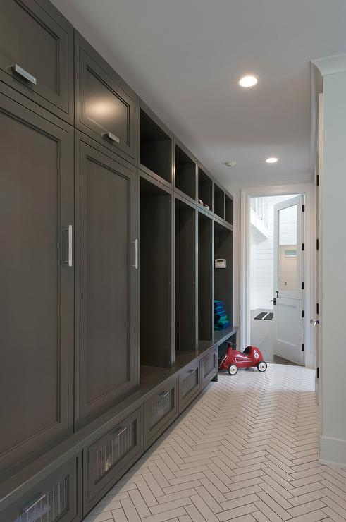 Pale Gray Mudroom Lockers With White Bench Transitional