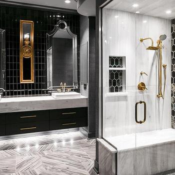 Black And White Shower With Brass Gooseneck Shower Head