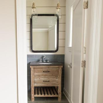 Hand Carved Bath Vanity With White Subway Tiles Transitional Bathroom