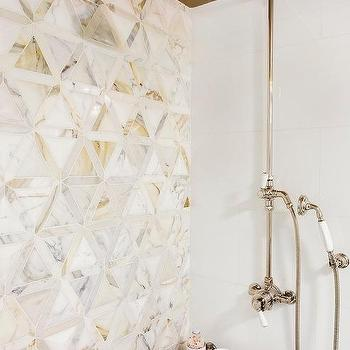 White And Gold Marble 3d Tiles Design Ideas
