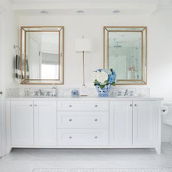 Attirant White Dual Vanity With Gold Beveled Beaded Mirrors