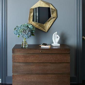 Gold Deco Mirror With Brown Chest Of Drawers