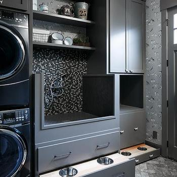 Great Charcoal Gray Laundry Room With Hidden Dog Food Bowls