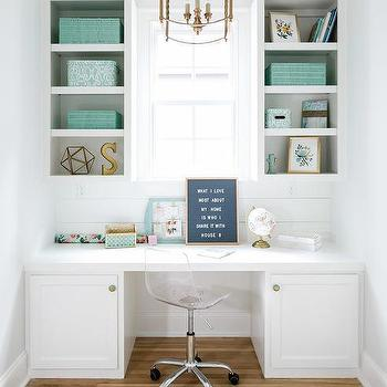 tiffany blue office. modren office white built in desk with tiffany blue acccents on office r