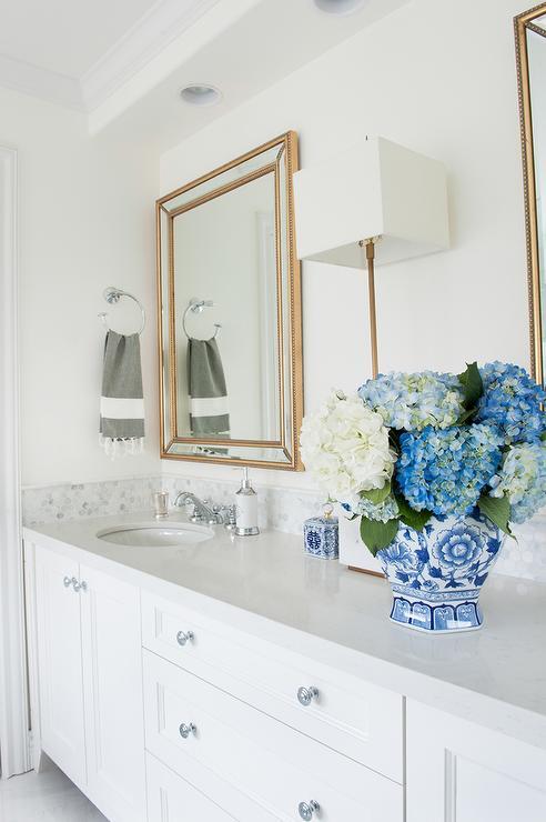 White hex bathroom backsplash tiles transitional bathroom for Benjamin moore oxford white kitchen cabinets