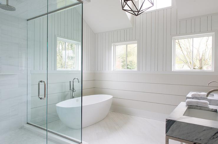 Cottage Bathroom With Horizontal Shiplap Walls