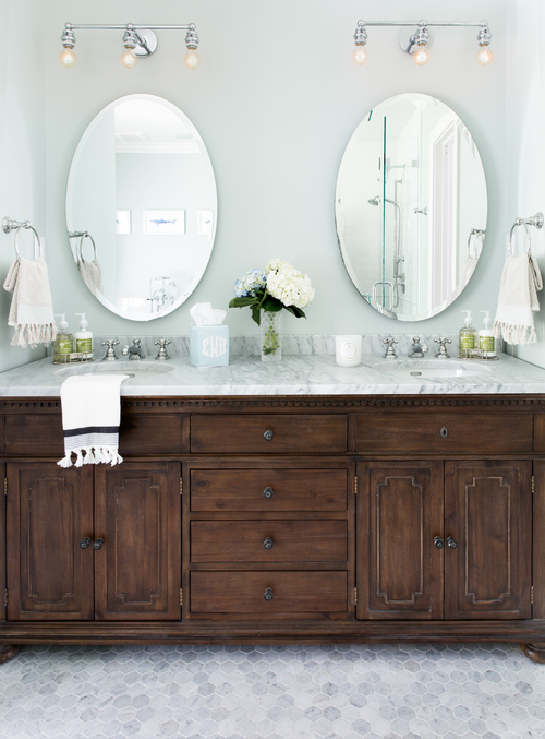 Bathroom Pivot Mirror oval pivot mirror with white washstand - transitional - bathroom