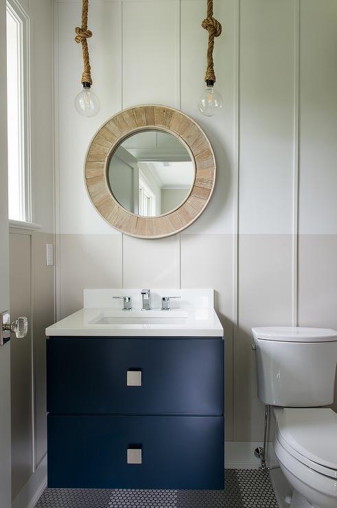 Blue And Gray Hexagon Tiles Contemporary Bathroom