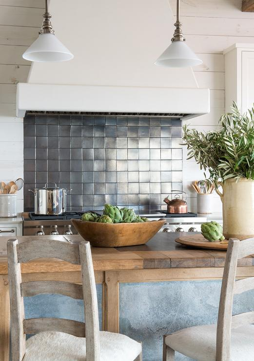 Rustic Cottage Kitchen With Ladder Back Stools