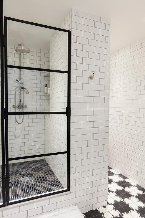Black and white shower tiles contemporary bathroom hgtv - White subway tile with black grout bathroom ...