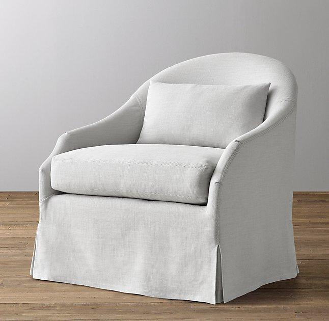 Ivory Striped Comfort Swivel Glider Ottoman