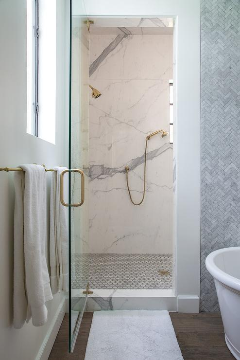 Walk In Shower With Large Carrera Hex Marble Floor Transitional