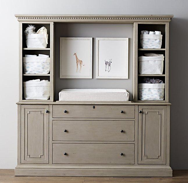Taupe Changing Table Storage Wall View Full Size