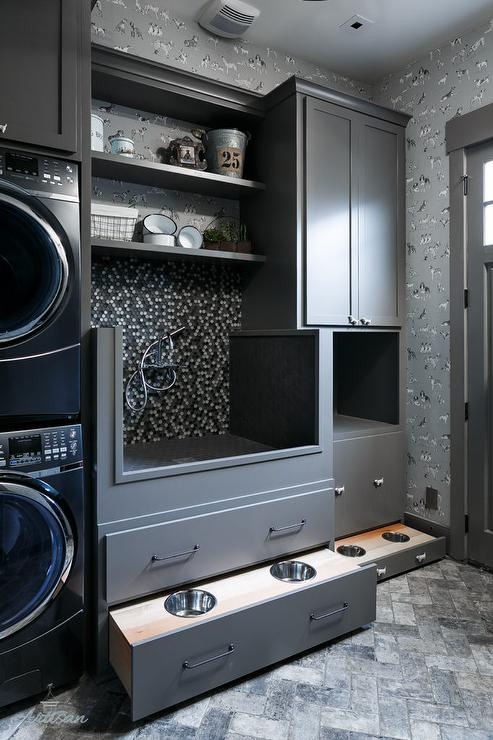 Well-liked Charcoal Gray Laundry Room with Hidden Dog Food Bowls  WD91