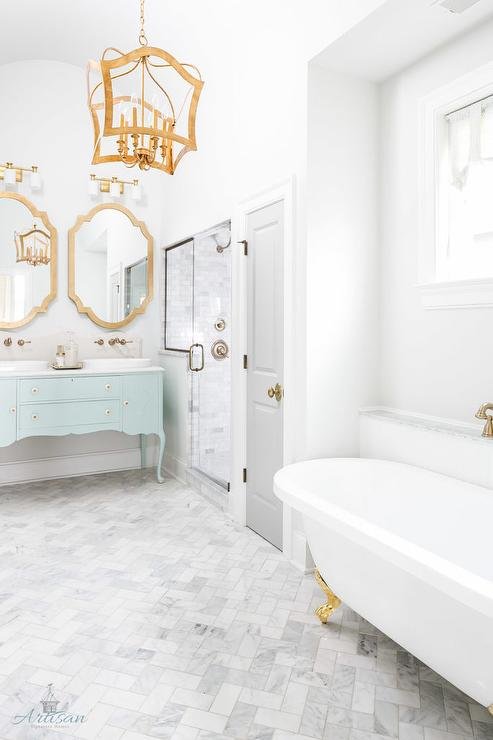 Genial Tiffany Blue Washstand With Gold Mirror