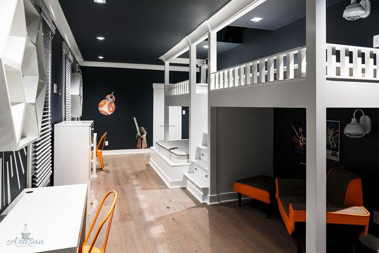 Gray Boys Bedroom With Black Bunk Beds Contemporary