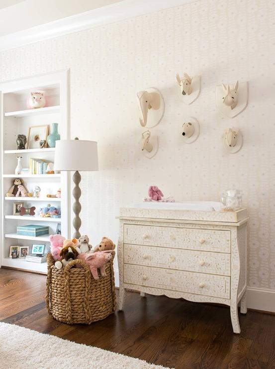 Cream Bone Inlay Dresser With Changing Tray