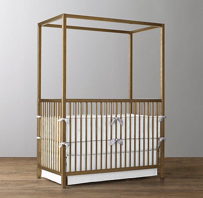 Aged Brass Lynd Canopy Crib & Brass Lynd Canopy Crib