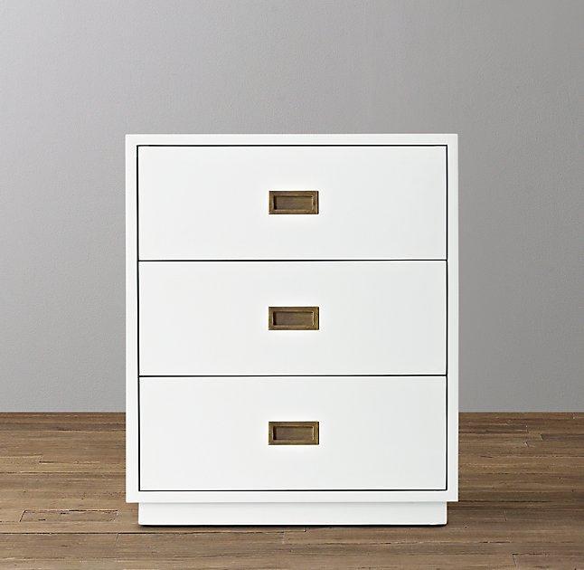White 3 Drawer Nightstand